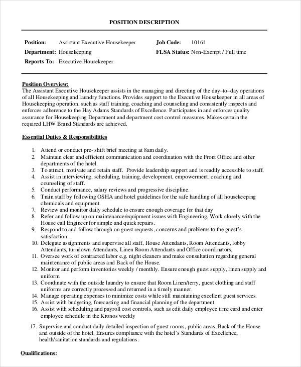 assistant executive housekeeper job description. Resume Example. Resume CV Cover Letter