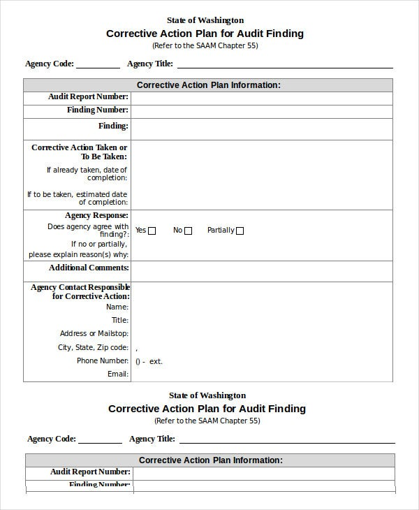 Corrective Action Plan Template   Free Sample Example Format