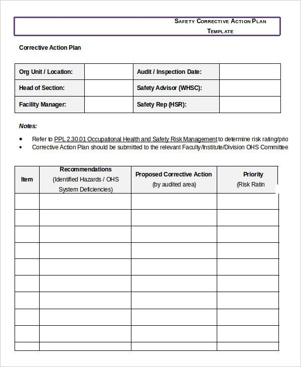 corrective action plan template  Corrective Action Plan Template - 14  Free Sample, Example, Format ...