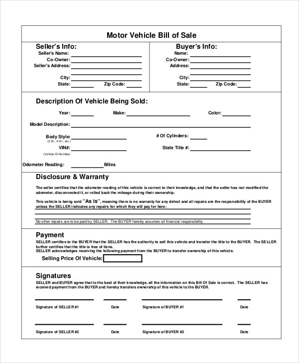 Motor Vehicle Bill of Sale - 7+ Free word, PDF Documents Download ...