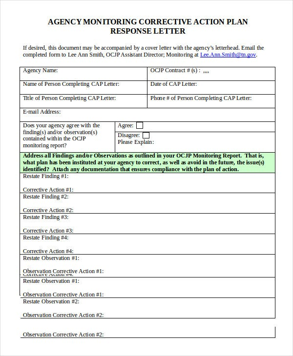 corrective action plan example Corrective Action Plan Template - 14  Free Sample, Example, Format ...