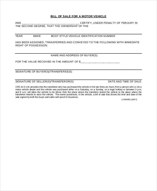 Motor Vehicle Bill Of Sale   Free Word  Documents Download