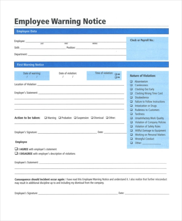 warning notices for employees