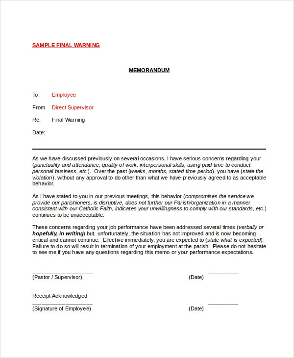 Employee Final Warning Notice In Word