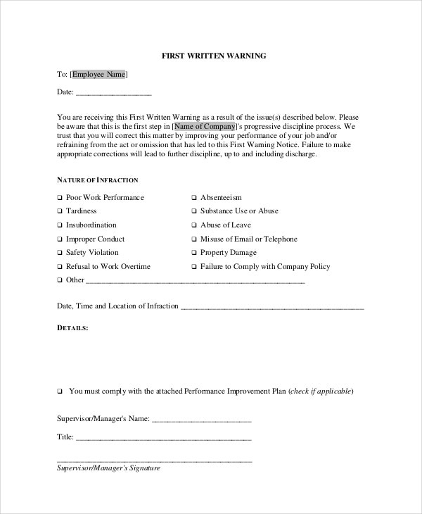 employee first warning notice format