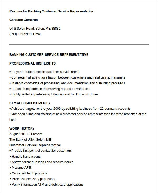 Coursework on a resume customer service skills examples