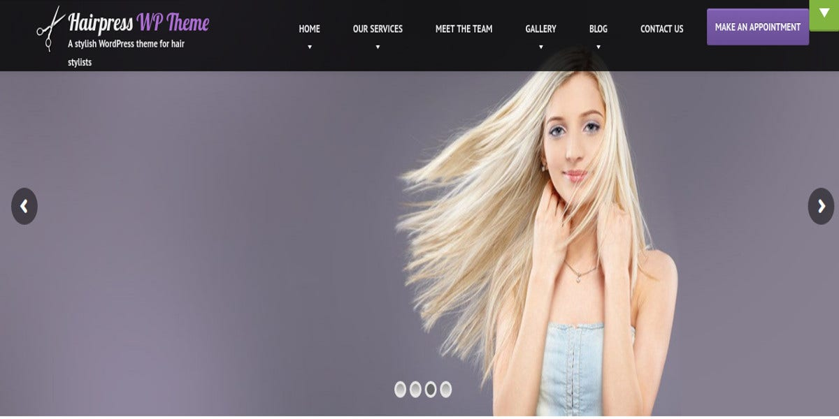Hair Salons WordPress Theme $59