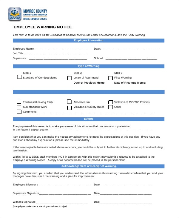 Employee Warning Notice - 11+ Free Word, PDF Documents Download ...