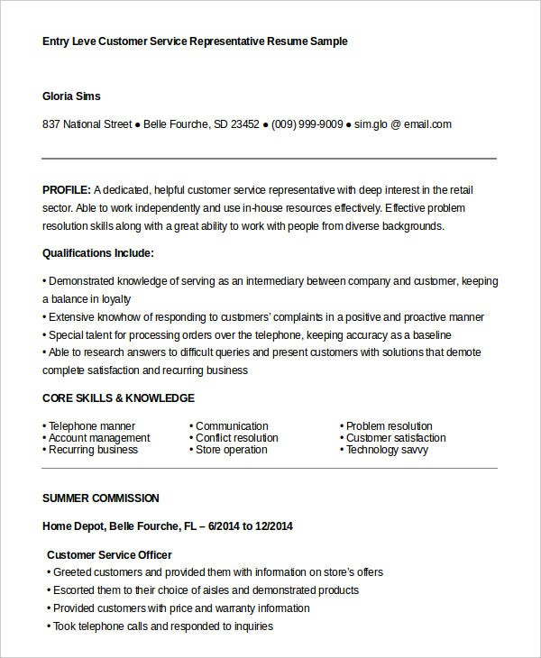 entry-level-customer-service-representative-resume