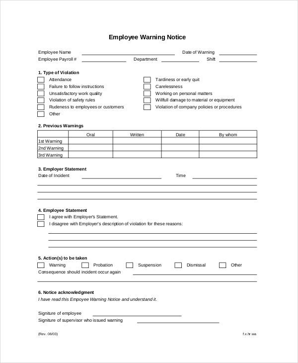 Employee Warning Notice   Free Word Pdf Documents Download