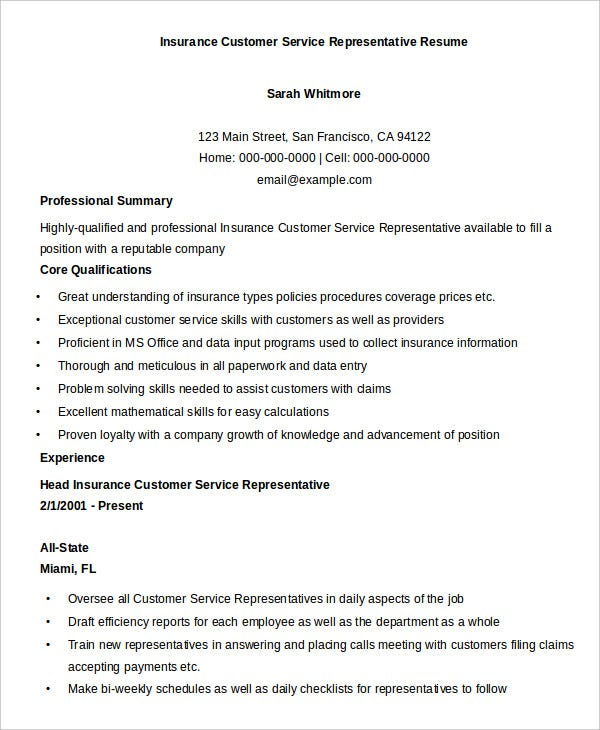 insurance-customer-service-representative-resume