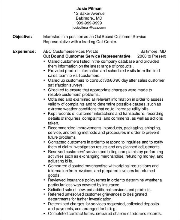 Outbound Customer Service Representative Resume  Customer Service Representative Resume Sample