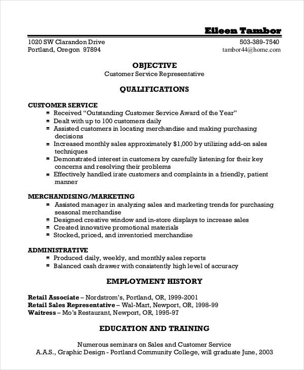 resume objective examples for customer service representative