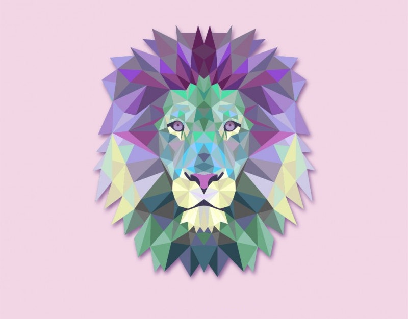 Vector Polygonal Lion Head Illustration