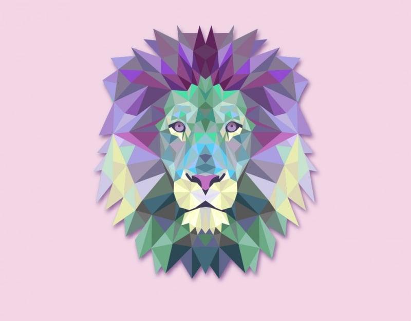 vector polygonal lion head illustration