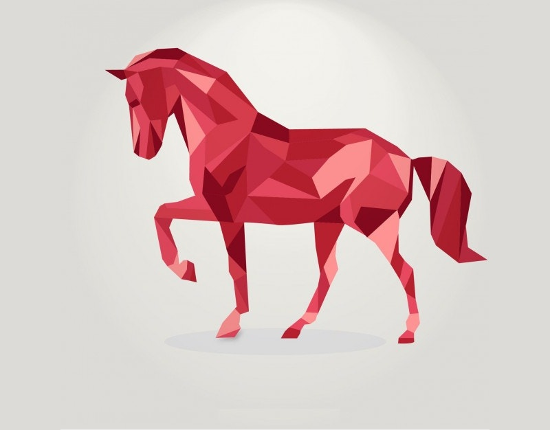 polygonal red horse geometric illustration