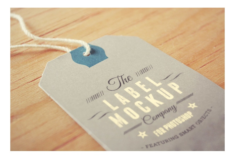 Label Tag Mockup on Wood