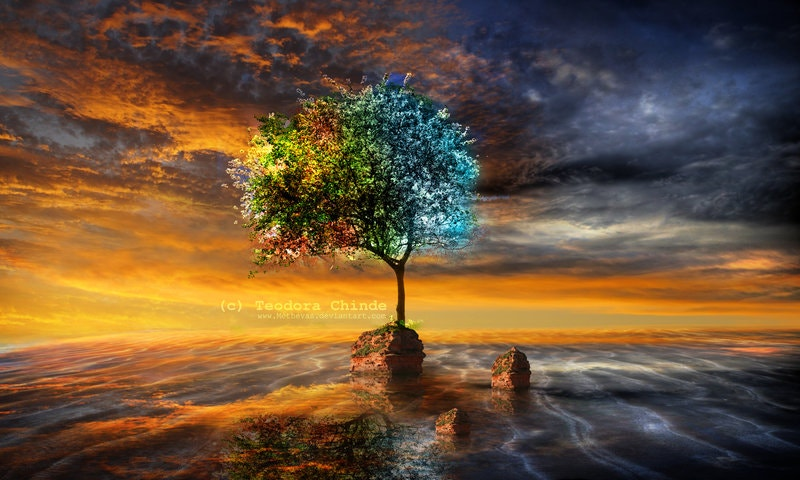 Painting of Tree with Nice Concept