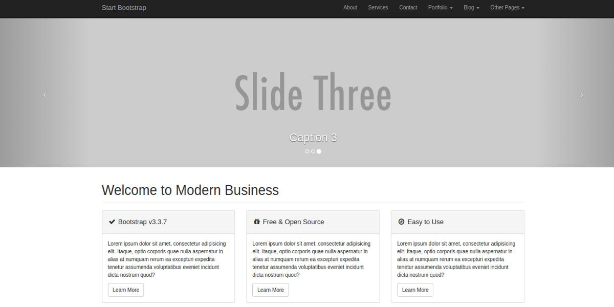 modern business bootstrap website theme