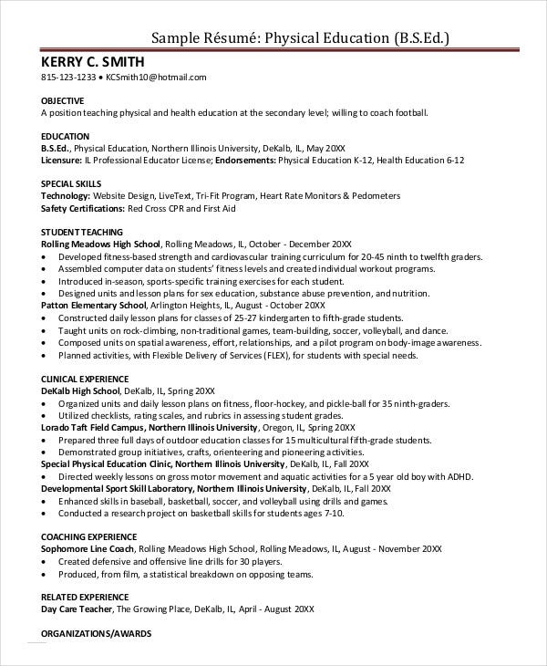 Physical Education Resume  Physical Education Resume