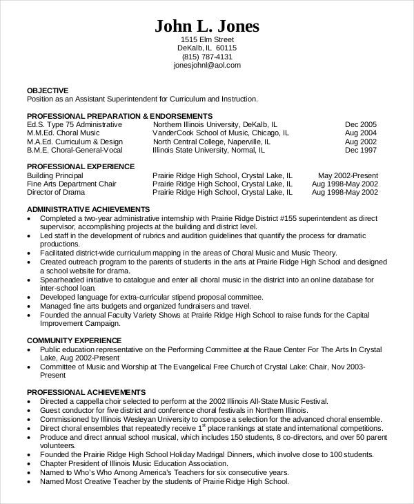 assistant principal resume format high school templates administration education template vice
