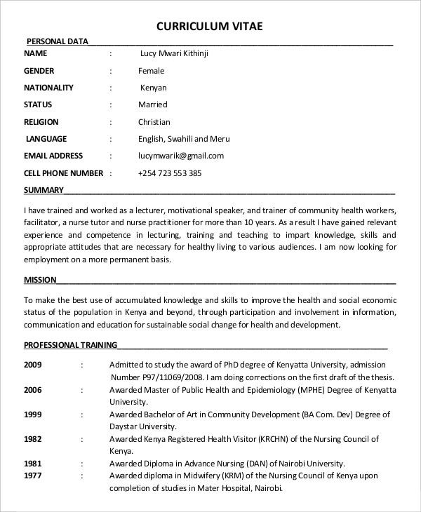 Community Health Education Resume Template