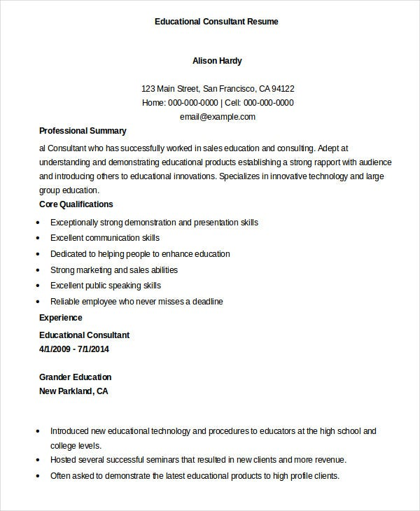 Resume Sample For Educational Consultant
