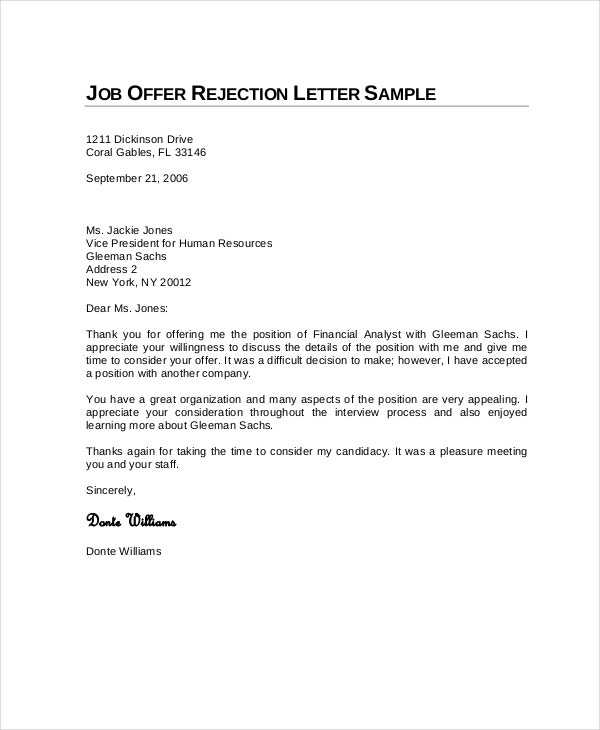 sample job rejection letter in pdf