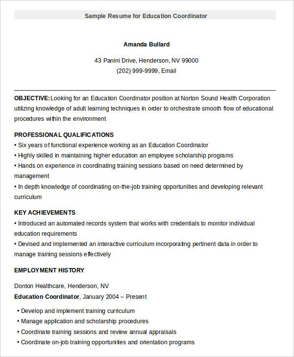 sample resume for education coordinator - Resume Education