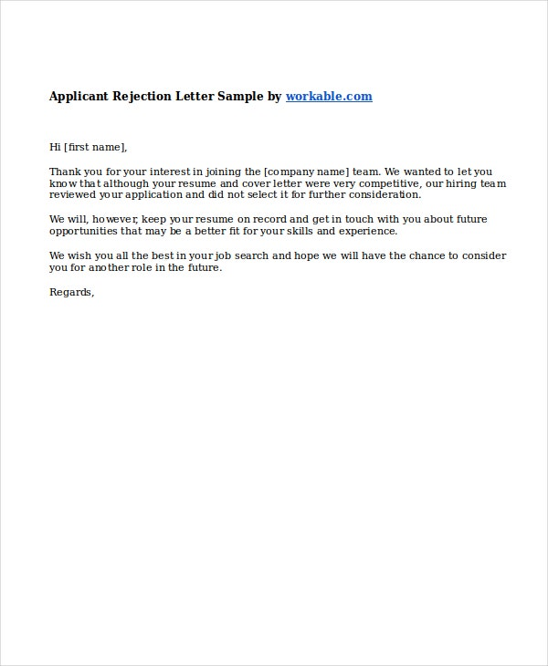 Applicant letter of rejection for job