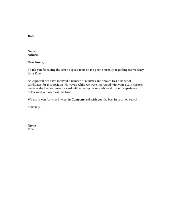 phone interview rejection letter example
