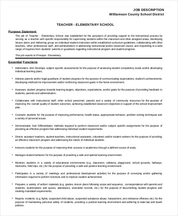 Elementary School Teacher Job Description Template Sample Form. 8