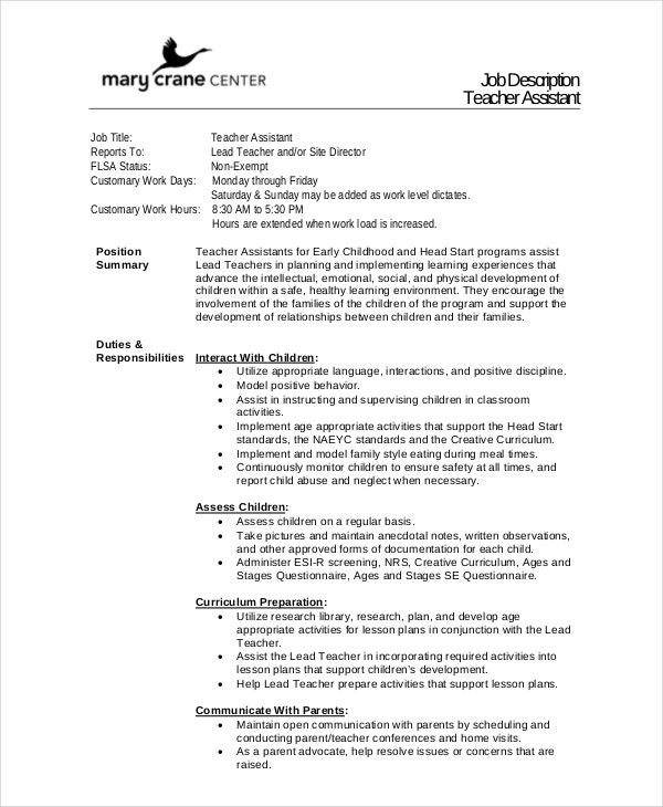 12 teacher job descriptions free sample example for Samples of job descriptions templates