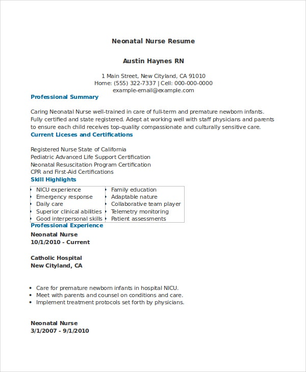neonatal nurse resume