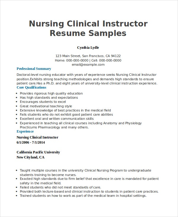 nursing instructor resumes Oylekalakaarico