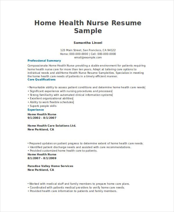 Home Health Nurse Resume Sample