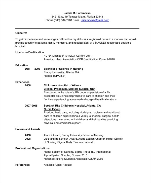 Child Development and Education new graduate bsn resume Mba