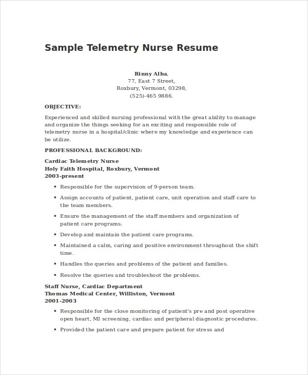 Sample Telemetry Nurse Resume