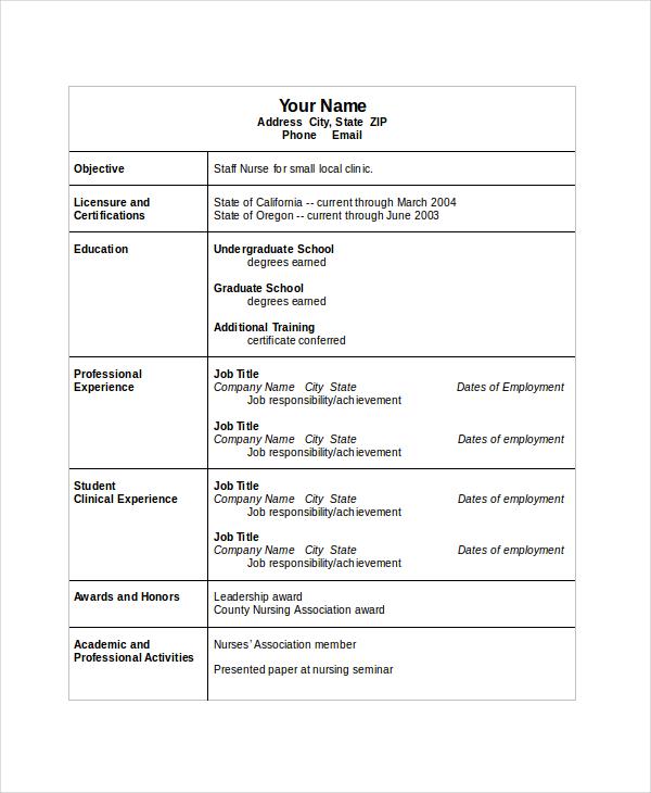Printable Nursing Resume