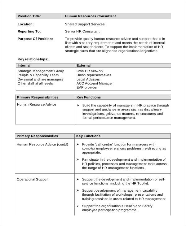 human resource consultant job description. Resume Example. Resume CV Cover Letter