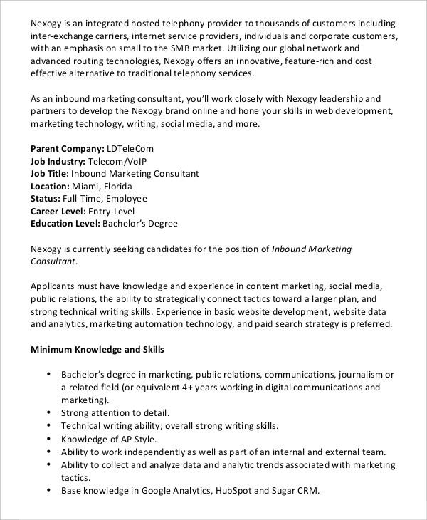 marketing-consultant-job-description