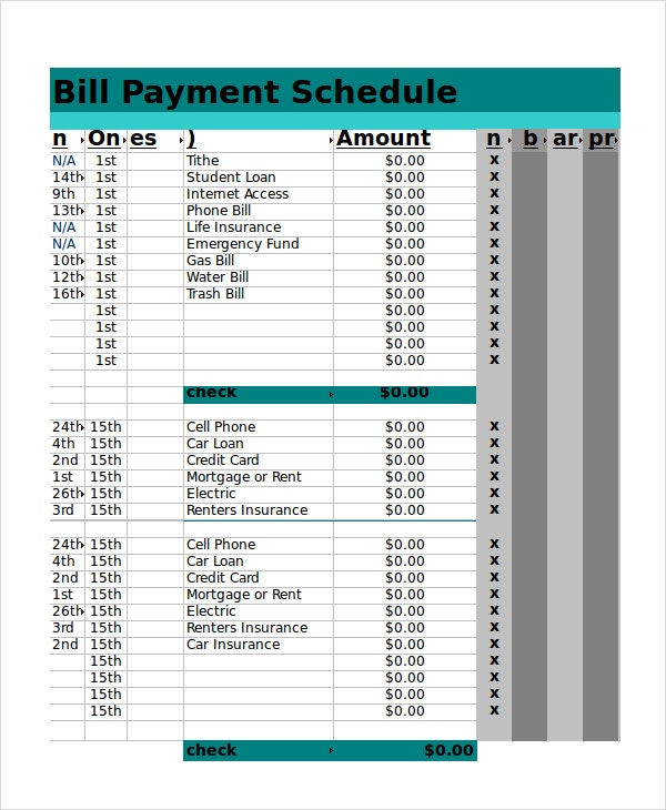 Excel Bill Payment Schedule Template