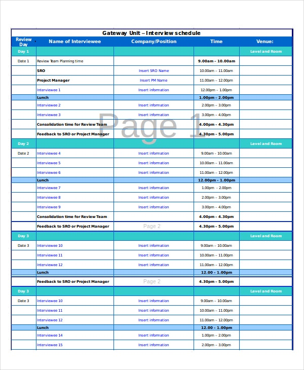 Excel Schedule Template - 11+ Free Pdf, Word Download Document