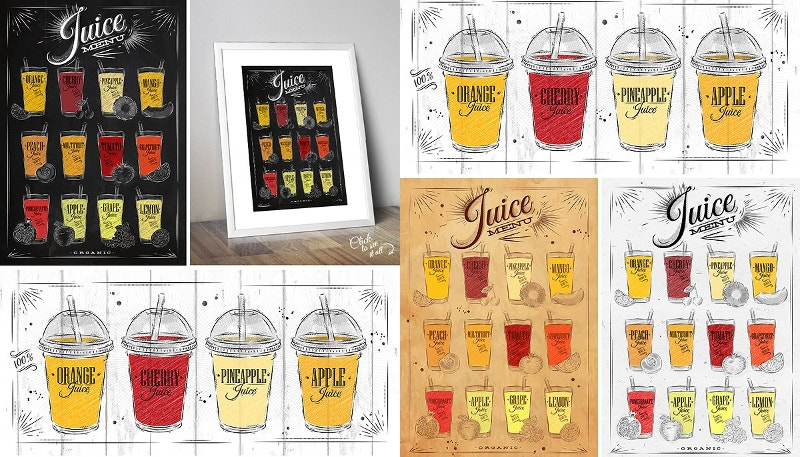 chalkboard juice poster