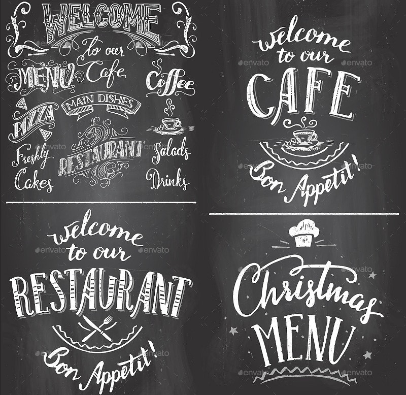 cafe chalkboard printables set