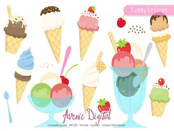 yummy icecream logo template