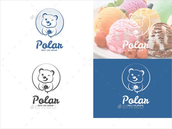 polar bear ice cream logo template