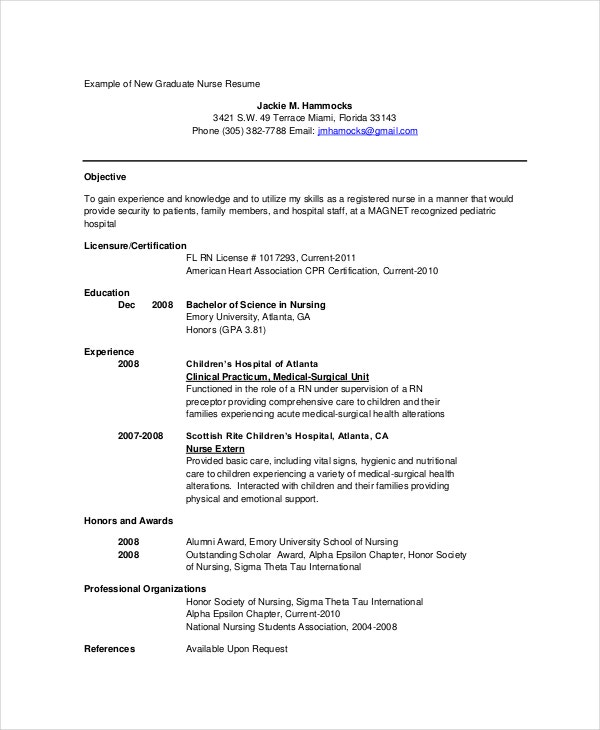 graduate nurse resume in pdf - Example Of Nurse Resume