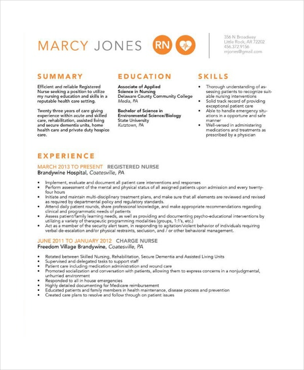 experienced nurse resume in psd
