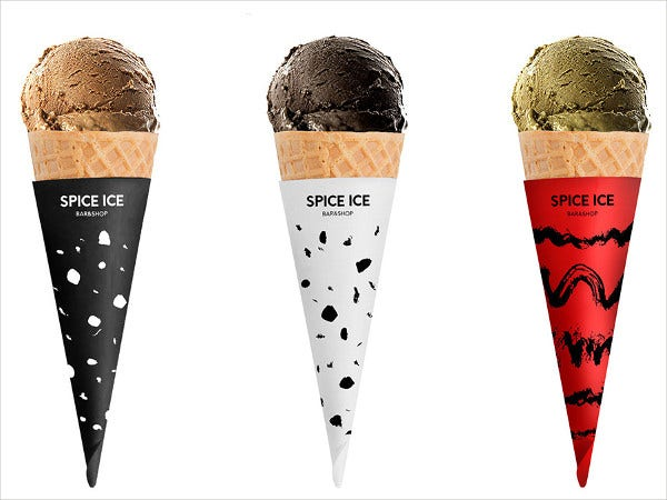 spicy cone ice cream logo template